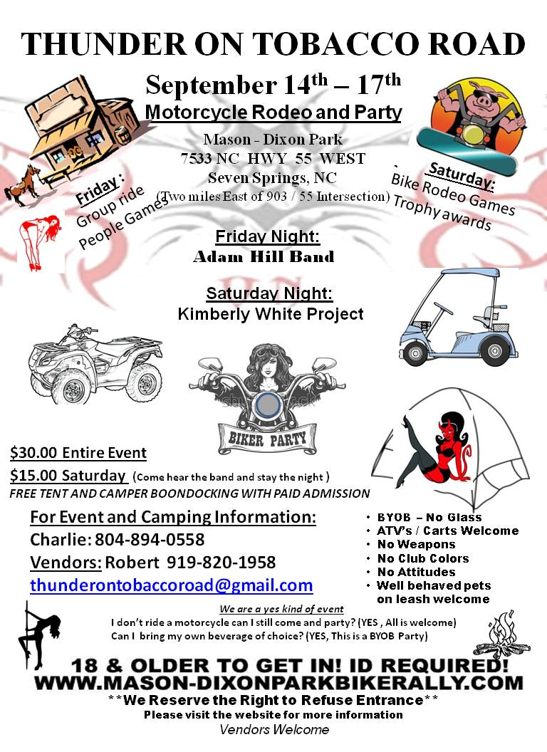 Thunder on Tobacco Road Motorcycle Rodeo and Party Seven Springs NC bikers motorcycle events