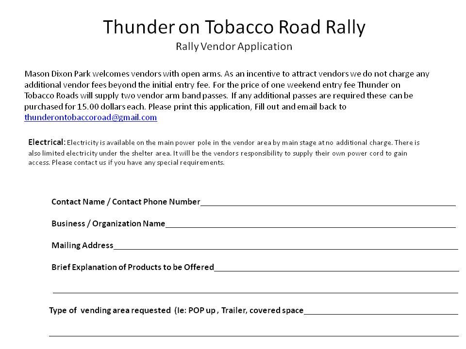Thunder on Tobacco Road Rally Vendor Application